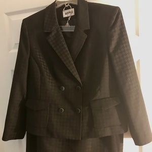 Two Piece Black Houndstooth Skirt Suit